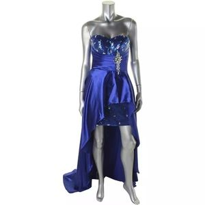 Dresses & Skirts - Blue high low dress homecoming pageant fun fashion